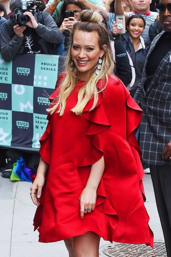 Hilary Duff – Red Dress Outside AOL Build in NYC