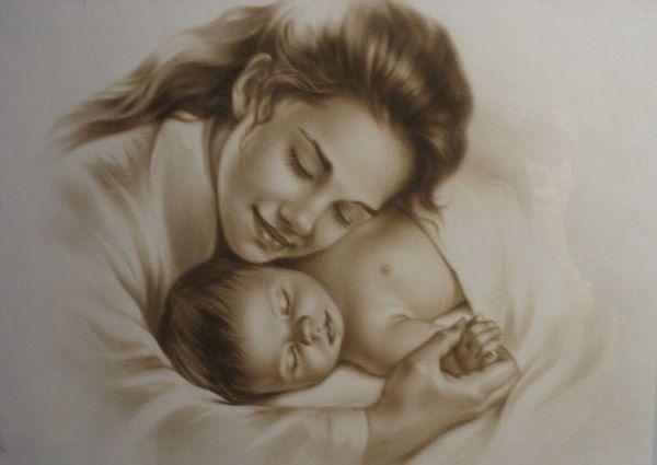 картинки нарисованные мама и малыш
