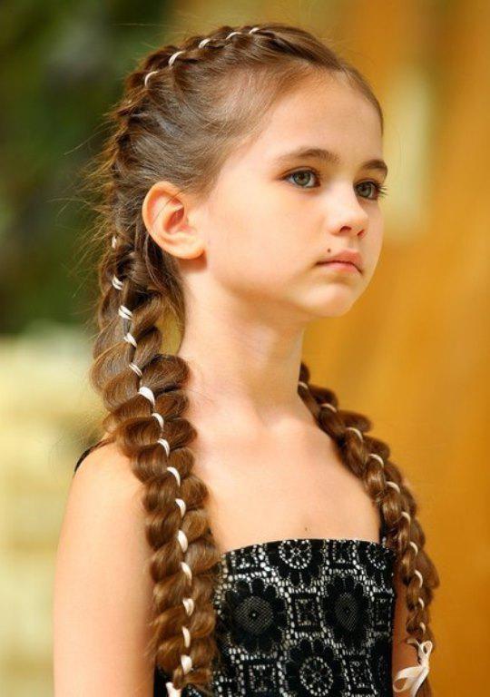 Прическа девочке с косичкой спереди